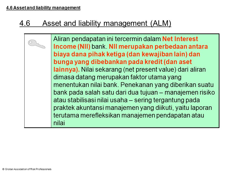 © Global Association of Risk Professionals 4.6 Asset and liability management 4.6Asset and liability management (ALM) Aliran pendapatan ini tercermin