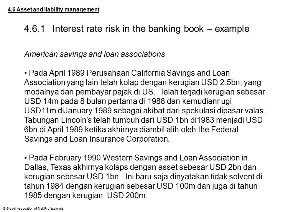 © Global Association of Risk Professionals 4.6 Asset and liability management 4.6.1Interest rate risk in the banking book – example American savings a