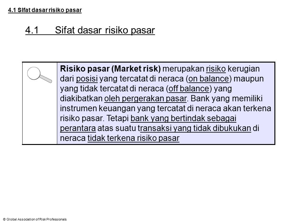 © Global Association of Risk Professionals 4.1 SIfat dasar risiko pasar 4.1Sifat dasar risiko pasar Risiko pasar (Market risk) merupakan risiko kerugi