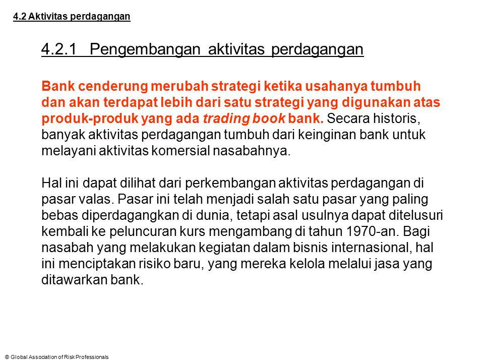 © Global Association of Risk Professionals 4.2 Aktivitas perdagangan 4.2.1Pengembangan aktivitas perdagangan Bank cenderung merubah strategi ketika us