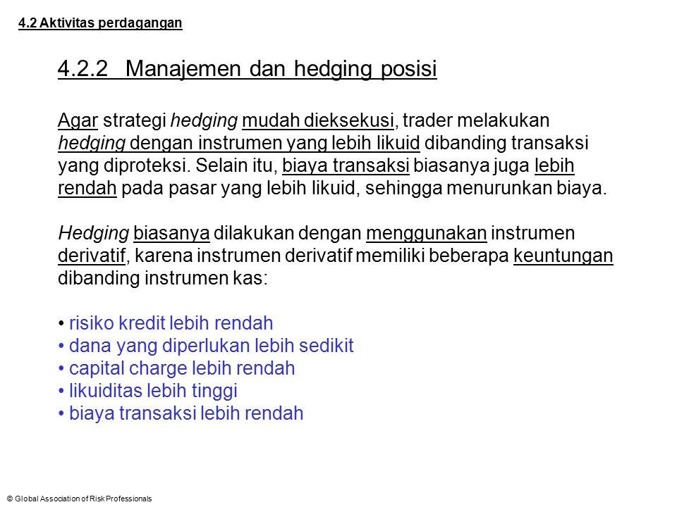 © Global Association of Risk Professionals 4.2 Aktivitas perdagangan 4.2.2Manajemen dan hedging posisi Agar strategi hedging mudah dieksekusi, trader