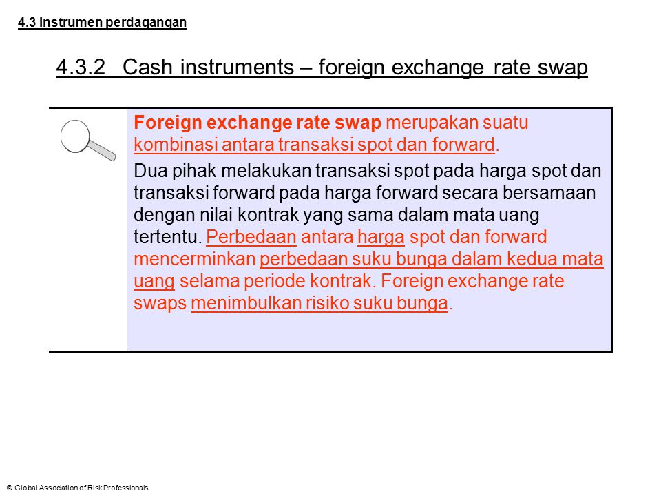 © Global Association of Risk Professionals 4.3 Instrumen perdagangan 4.3.2Cash instruments – foreign exchange rate swap Foreign exchange rate swap mer