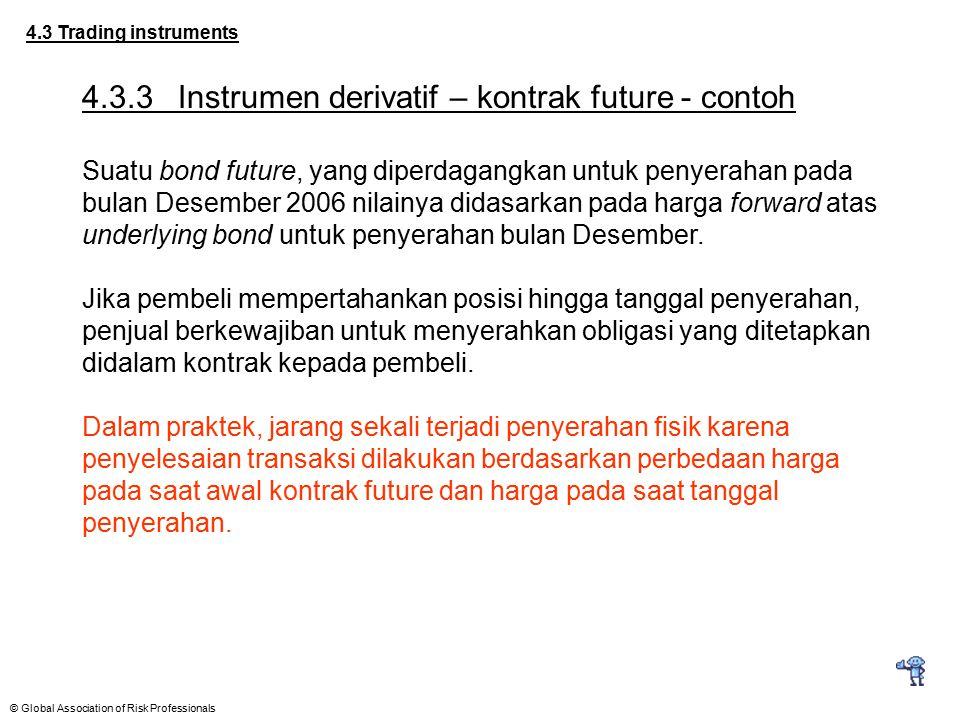 © Global Association of Risk Professionals 4.3 Trading instruments 4.3.3Instrumen derivatif – kontrak future - contoh Suatu bond future, yang diperdag