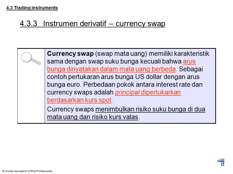 © Global Association of Risk Professionals 4.3 Trading instruments 4.3.3Instrumen derivatif – currency swap Currency swap (swap mata uang) memiliki ka
