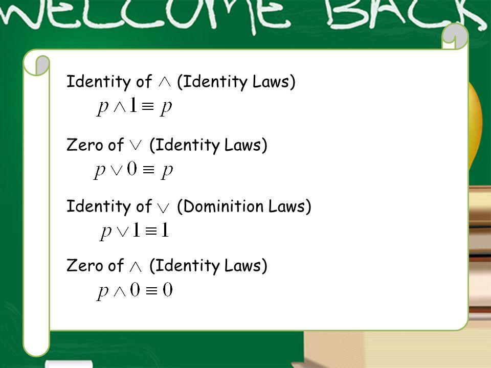 Identity of (Identity Laws) Zero of (Identity Laws) Identity of (Dominition Laws) Zero of (Identity Laws)
