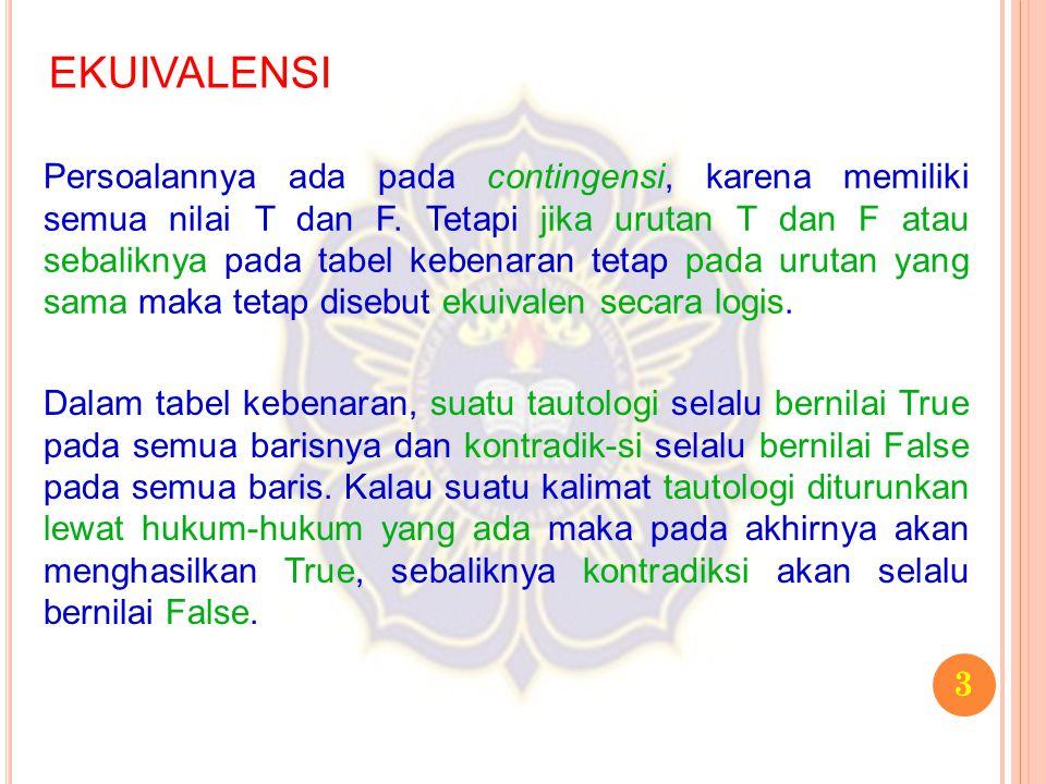 14 EKUIVALENSI 3.Buatlah tabel kebenaran untuk pernyataan majemuk tersebut.