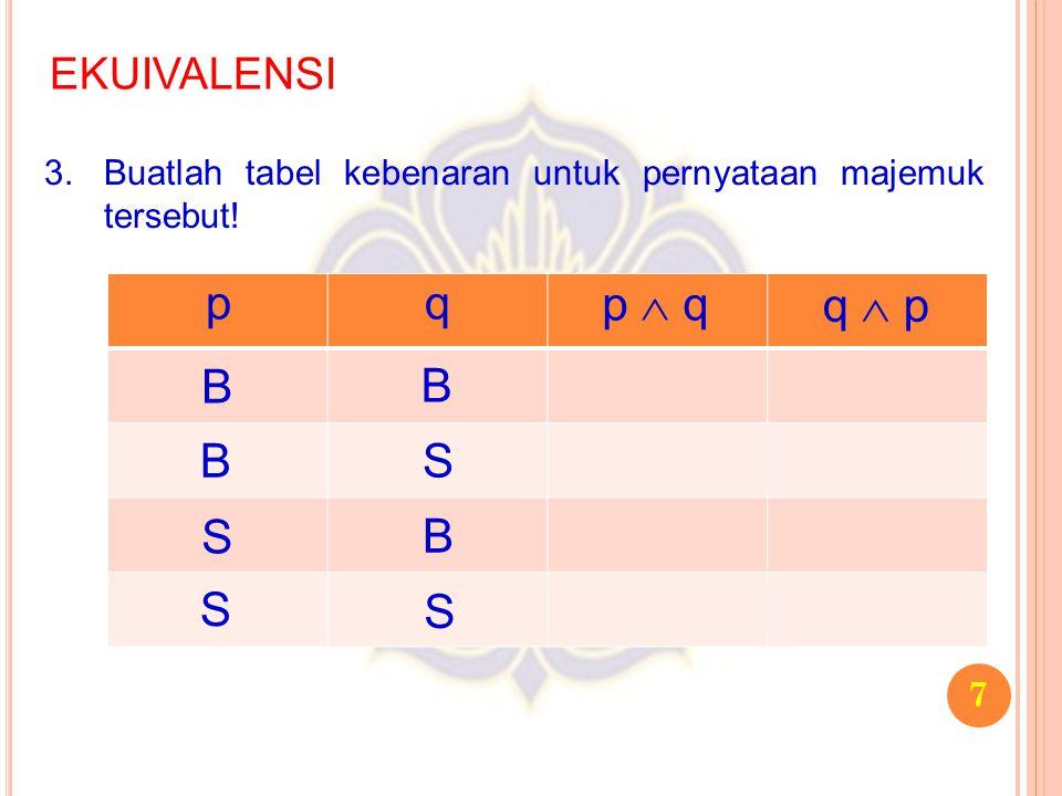 7 EKUIVALENSI 3.Buatlah tabel kebenaran untuk pernyataan majemuk tersebut! pq p  q q  p B B S S B S B S