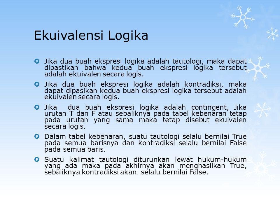  Jika dua buah ekspresi logika adalah tautologi, maka dapat dipastikan bahwa kedua buah ekspresi logika tersebut adalah ekuivalen secara logis.  Jik