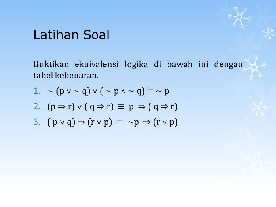 Latihan Soal Buktikan ekuivalensi logika di bawah ini dengan tabel kebenaran. 1.~ (p ˅ ~ q) ˅ ( ~ p ˄ ~ q) ≡ ~ p 2.(p ⇒ r) ˅ ( q ⇒ r) ≡ p ⇒ ( q ⇒ r) 3