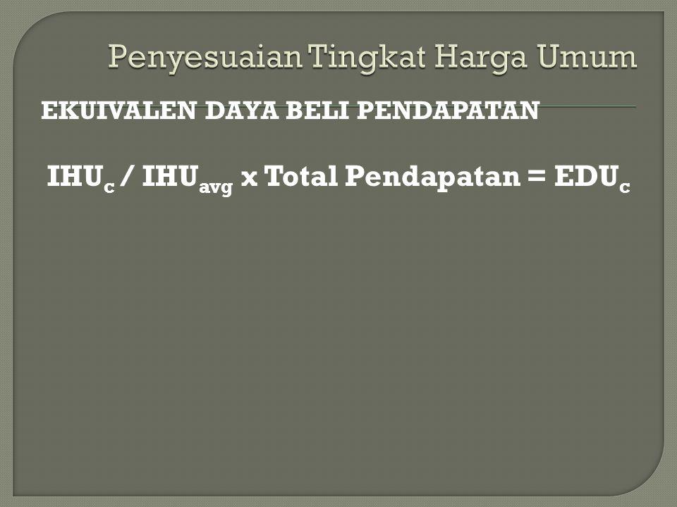 EKUIVALEN DAYA BELI PENDAPATAN IHU c / IHU avg x Total Pendapatan = EDU c