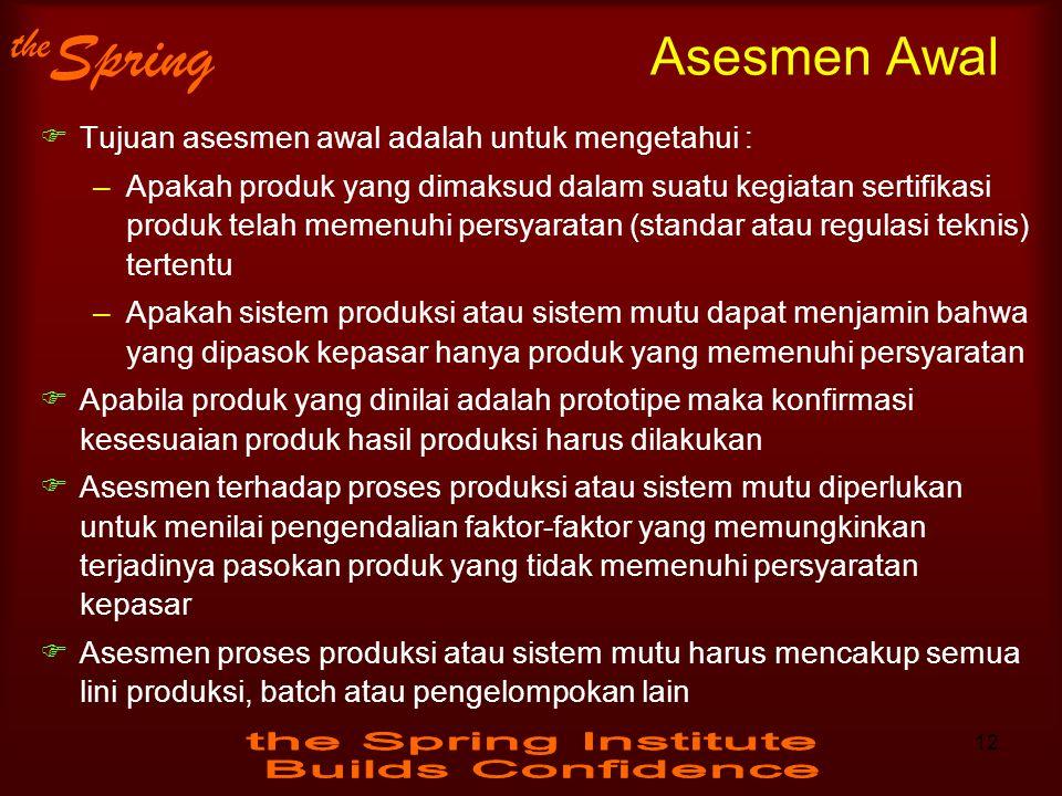 the Spring Asesmen Awal  Tujuan asesmen awal adalah untuk mengetahui : –Apakah produk yang dimaksud dalam suatu kegiatan sertifikasi produk telah mem