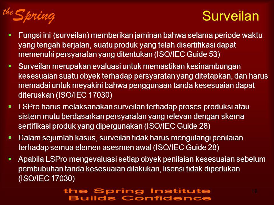the Spring Surveilan  Fungsi ini (surveilan) memberikan jaminan bahwa selama periode waktu yang tengah berjalan, suatu produk yang telah disertifikas