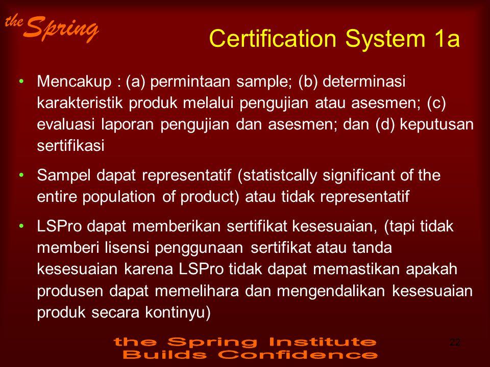 the Spring Certification System 1a Mencakup : (a) permintaan sample; (b) determinasi karakteristik produk melalui pengujian atau asesmen; (c) evaluasi