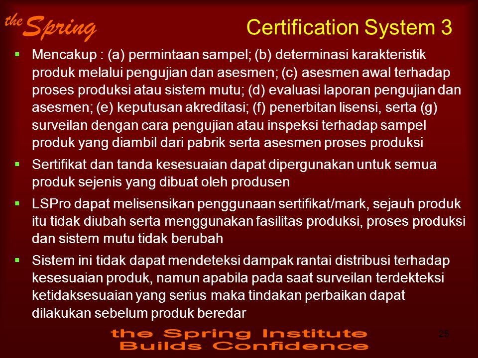 the Spring Certification System 3  Mencakup : (a) permintaan sampel; (b) determinasi karakteristik produk melalui pengujian dan asesmen; (c) asesmen