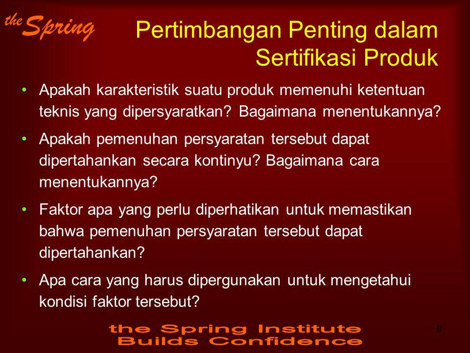 the Spring Pertimbangan Penting dalam Sertifikasi Produk Apakah karakteristik suatu produk memenuhi ketentuan teknis yang dipersyaratkan? Bagaimana me