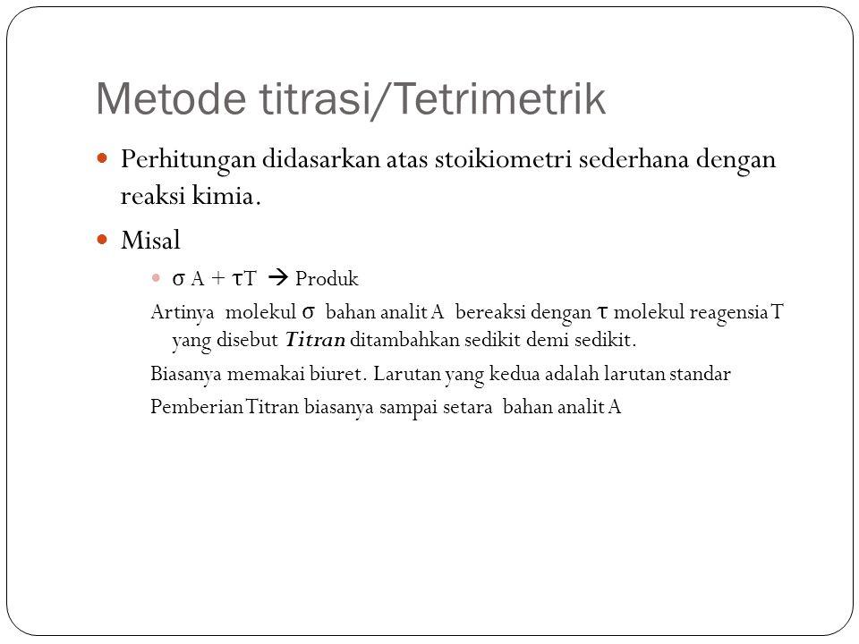 Metode titrasi/Tetrimetrik Perhitungan didasarkan atas stoikiometri sederhana dengan reaksi kimia.