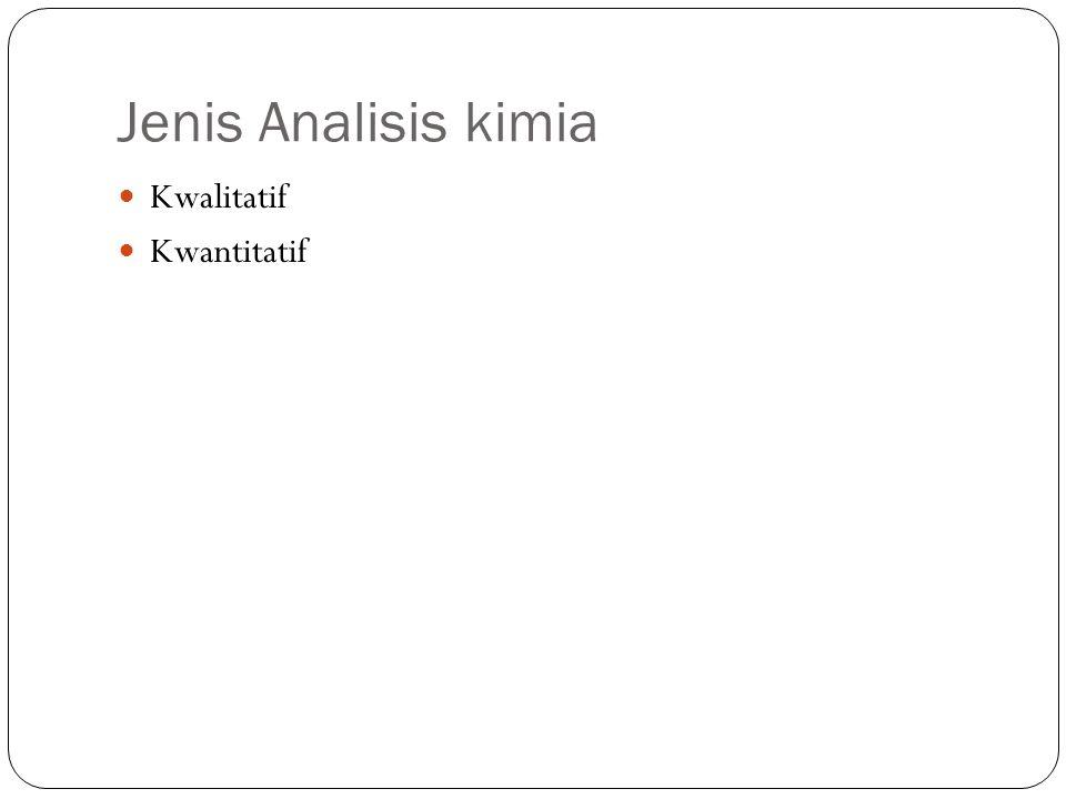 Jenis Analisis kimia Kwalitatif Kwantitatif