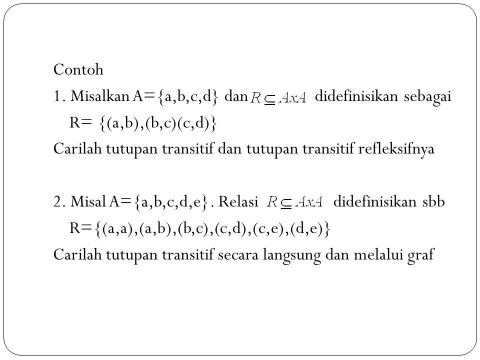 Contoh 1. Misalkan A={a,b,c,d} dan didefinisikan sebagai R= {(a,b),(b,c)(c,d)} Carilah tutupan transitif dan tutupan transitif refleksifnya 2. Misal A