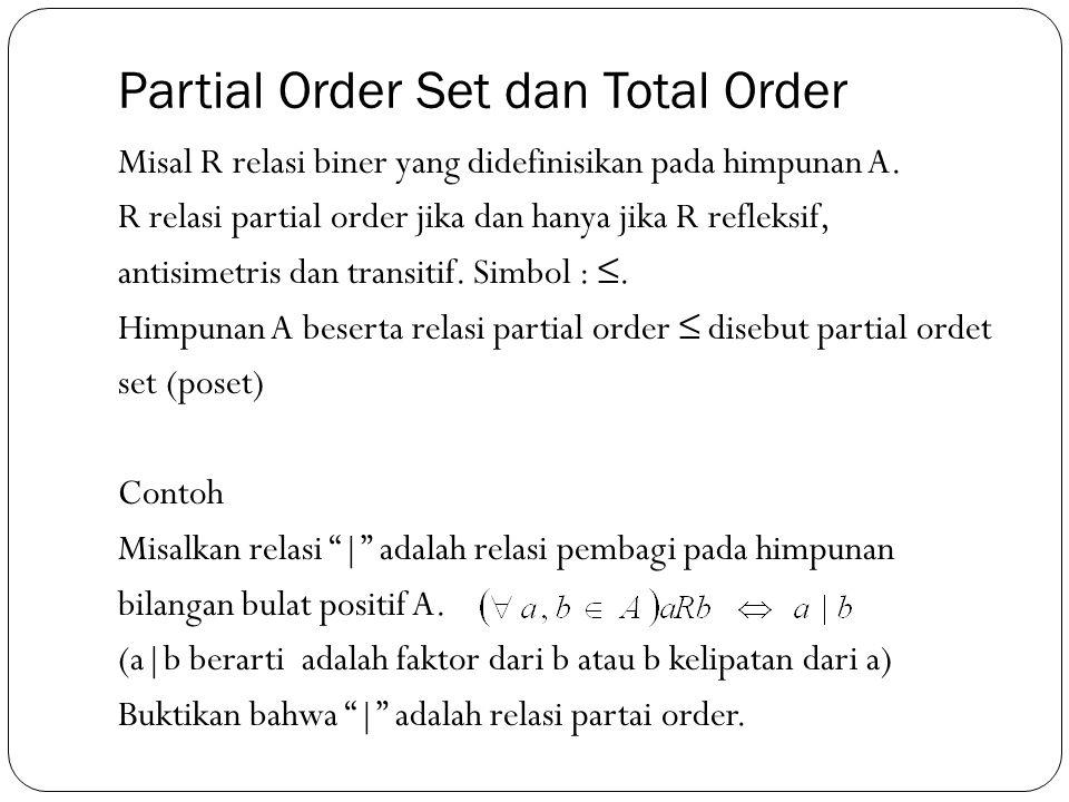 Misal R relasi biner yang didefinisikan pada himpunan A. R relasi partial order jika dan hanya jika R refleksif, antisimetris dan transitif. Simbol :