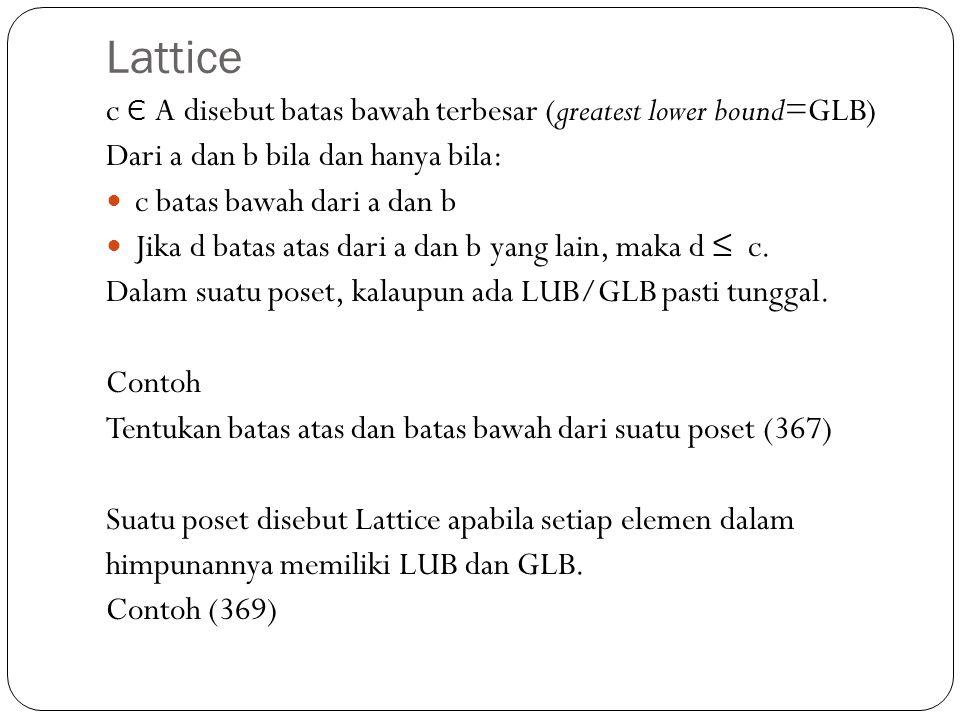 Lattice c Є A disebut batas bawah terbesar (greatest lower bound=GLB) Dari a dan b bila dan hanya bila: c batas bawah dari a dan b Jika d batas atas d