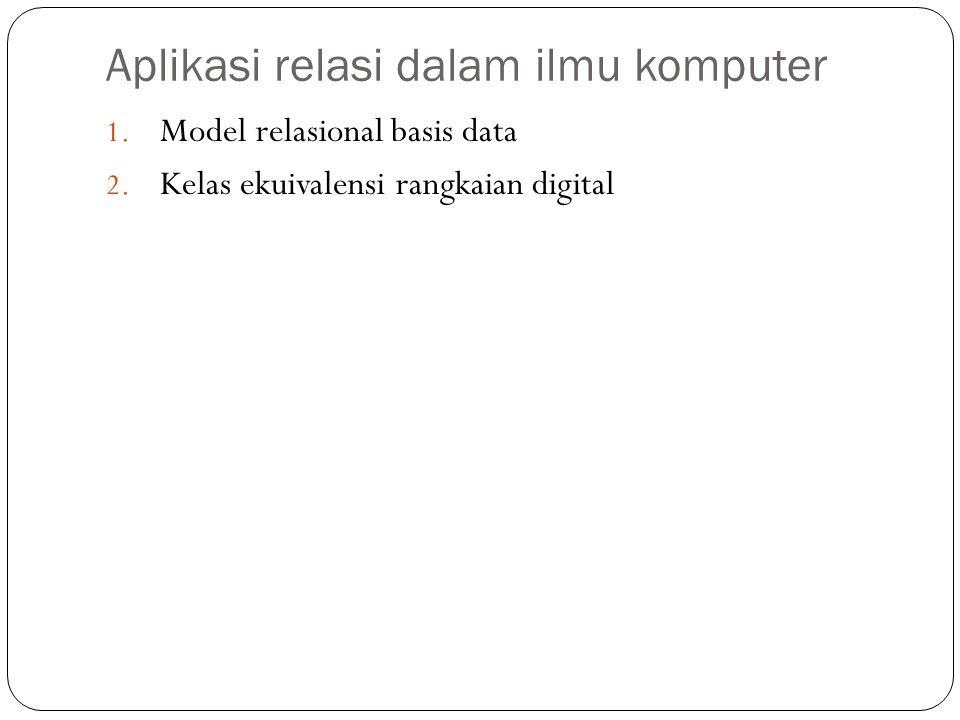 Aplikasi relasi dalam ilmu komputer 1. Model relasional basis data 2. Kelas ekuivalensi rangkaian digital