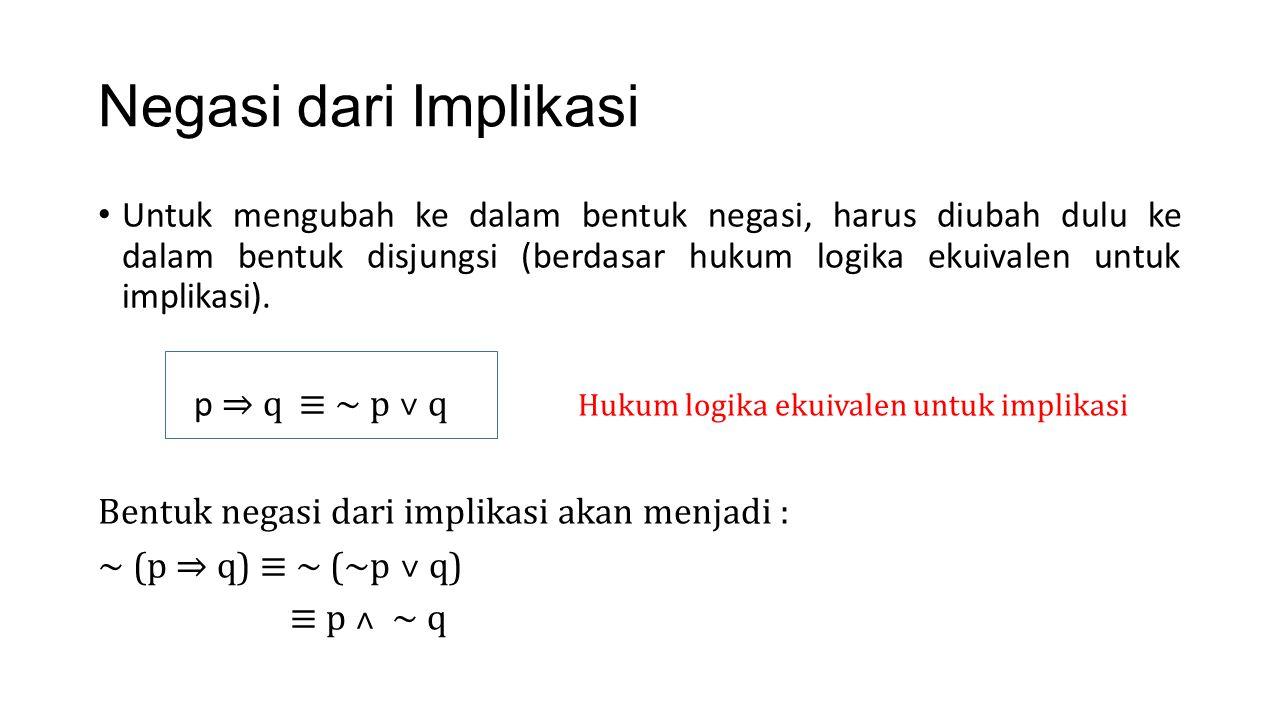 Negasi dari Biimplikasi Bentuk biimplikasi berdasar hukum logika ekuivalen adalah : Bentuk negasi dari biimplikasi tersebut adalah : ~ ( p ⟺ q) ≡ ~ ( (p ⇒q) ˄ (q⇒p)) ≡ ~ ((~p ˅q) ˄ (~q˅p)) ≡ ~ (~p ˅q) ˅ ~ (~ q ˅p) ≡ (p ˄ ~ q) ˅ (q ˄ ~p) p ⟺ q ≡ (p ⇒ q ) ˄ (q ⇒ p)