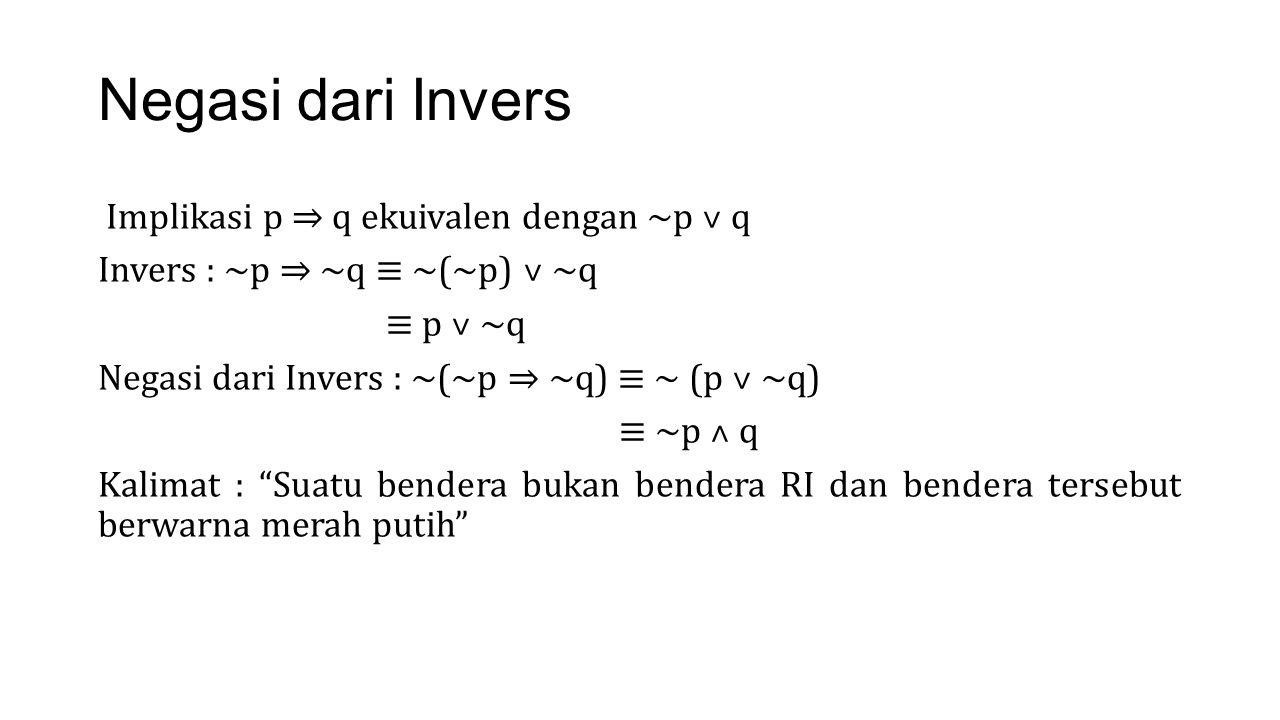Negasi dari Invers Implikasi p ⇒ q ekuivalen dengan ~p ˅ q Invers : ~p ⇒ ~q ≡ ~(~p) ˅ ~q ≡ p ˅ ~q Negasi dari Invers : ~(~p ⇒ ~q) ≡ ~ (p ˅ ~q) ≡ ~p ˄