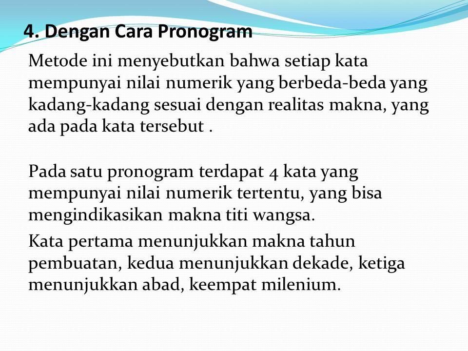4. Dengan Cara Pronogram Metode ini menyebutkan bahwa setiap kata mempunyai nilai numerik yang berbeda-beda yang kadang-kadang sesuai dengan realitas