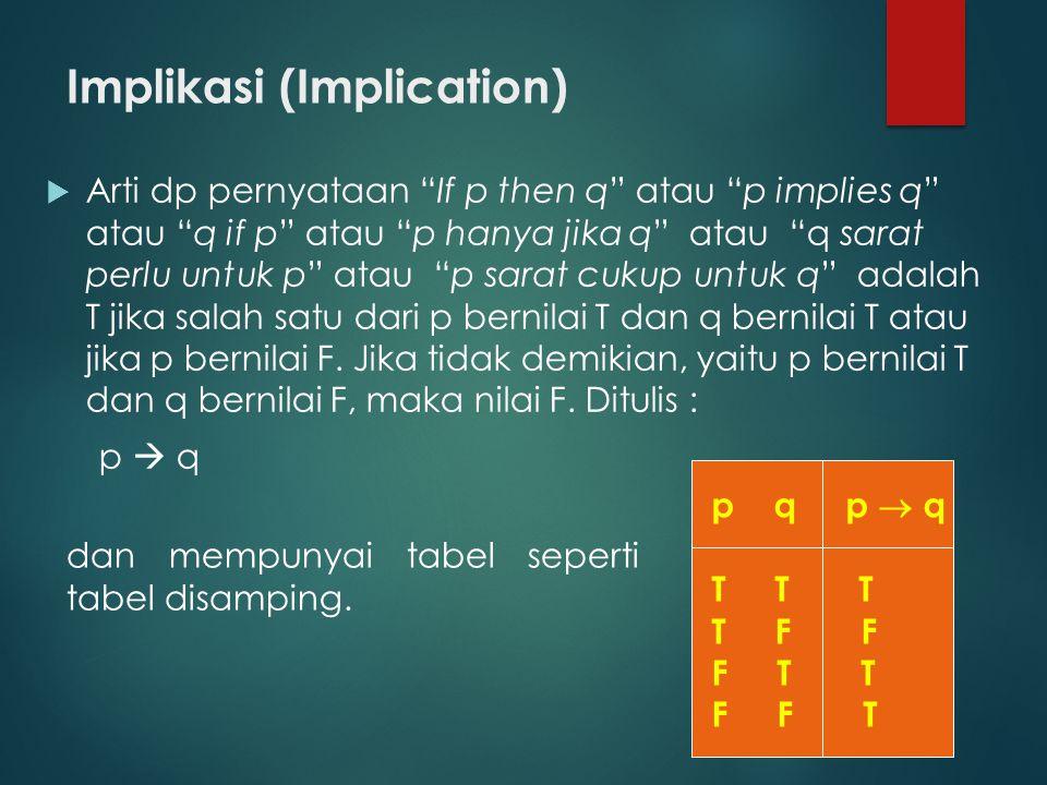 Implikasi (Implication)  Arti dp pernyataan If p then q atau p implies q atau q if p atau p hanya jika q atau q sarat perlu untuk p atau p sarat cukup untuk q adalah T jika salah satu dari p bernilai T dan q bernilai T atau jika p bernilai F.