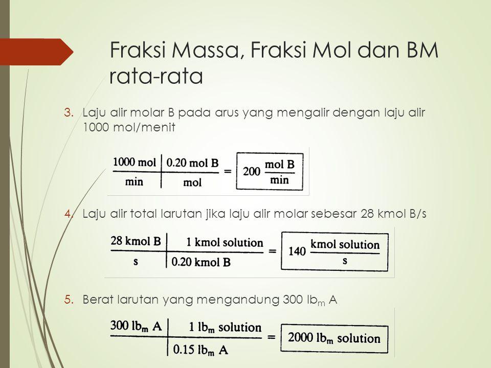 Fraksi Massa, Fraksi Mol dan BM rata-rata 3.Laju alir molar B pada arus yang mengalir dengan laju alir 1000 mol/menit 4.Laju alir total larutan jika l