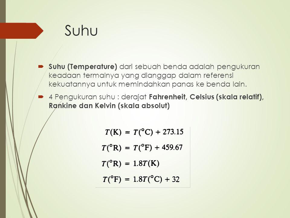 Suhu  Suhu (Temperature) dari sebuah benda adalah pengukuran keadaan termalnya yang dianggap dalam referensi kekuatannya untuk memindahkan panas ke b