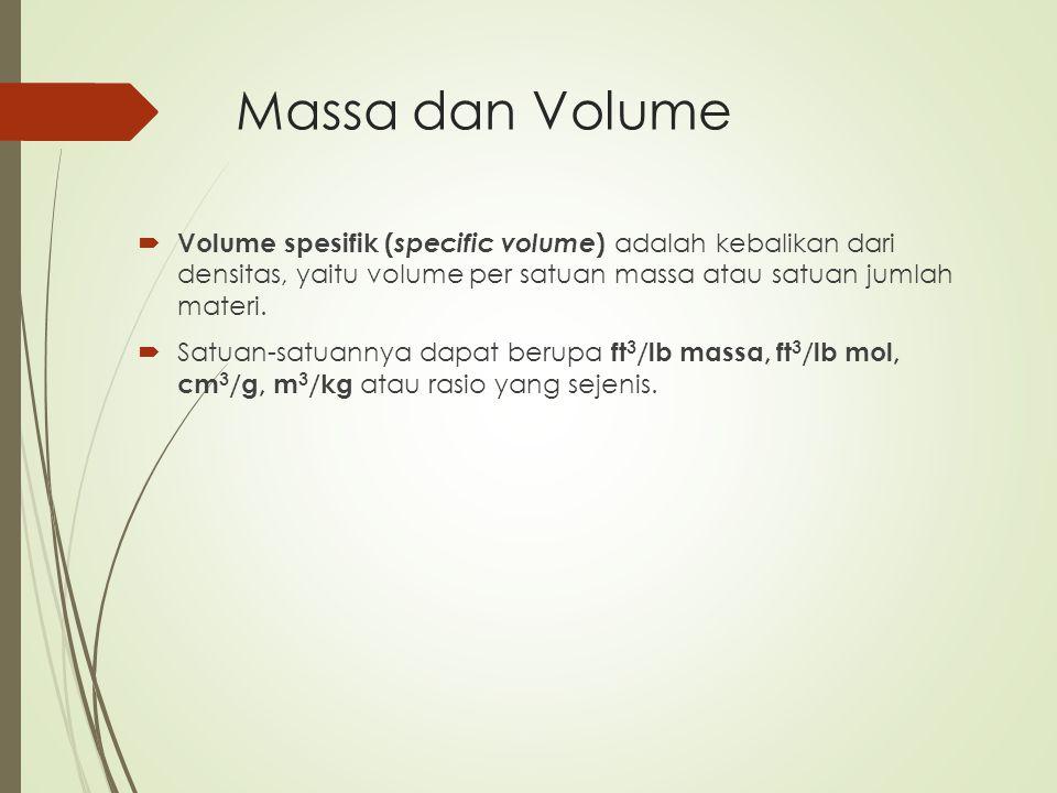 Massa dan Volume  Volume spesifik ( specific volume ) adalah kebalikan dari densitas, yaitu volume per satuan massa atau satuan jumlah materi.  Satu