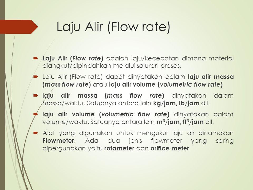 Laju Alir (Flow rate)  Laju Alir ( Flow rate ) adalah laju/kecepatan dimana material diangkut/dipindahkan melalui saluran proses.  Laju Alir (Flow r