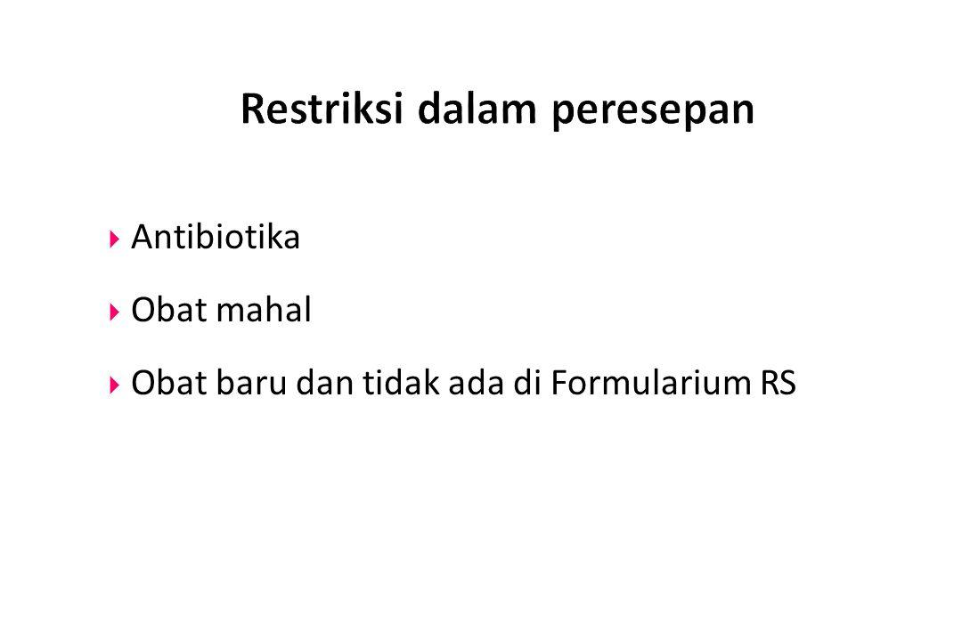  Antibiotika  Obat mahal  Obat baru dan tidak ada di Formularium RS