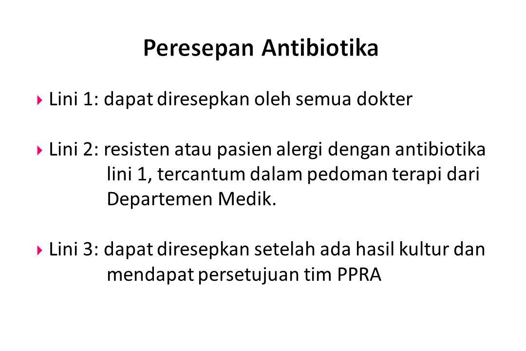  Lini 1: dapat diresepkan oleh semua dokter  Lini 2: resisten atau pasien alergi dengan antibiotika lini 1, tercantum dalam pedoman terapi dari Depa