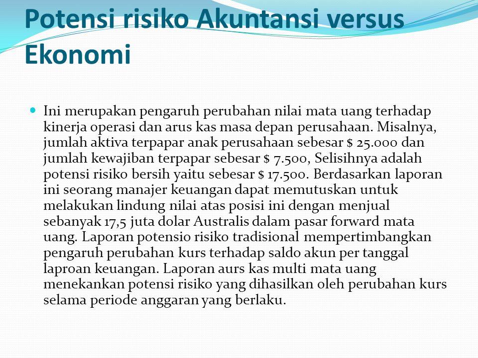 Potensi risiko Akuntansi versus Ekonomi Ini merupakan pengaruh perubahan nilai mata uang terhadap kinerja operasi dan arus kas masa depan perusahaan.