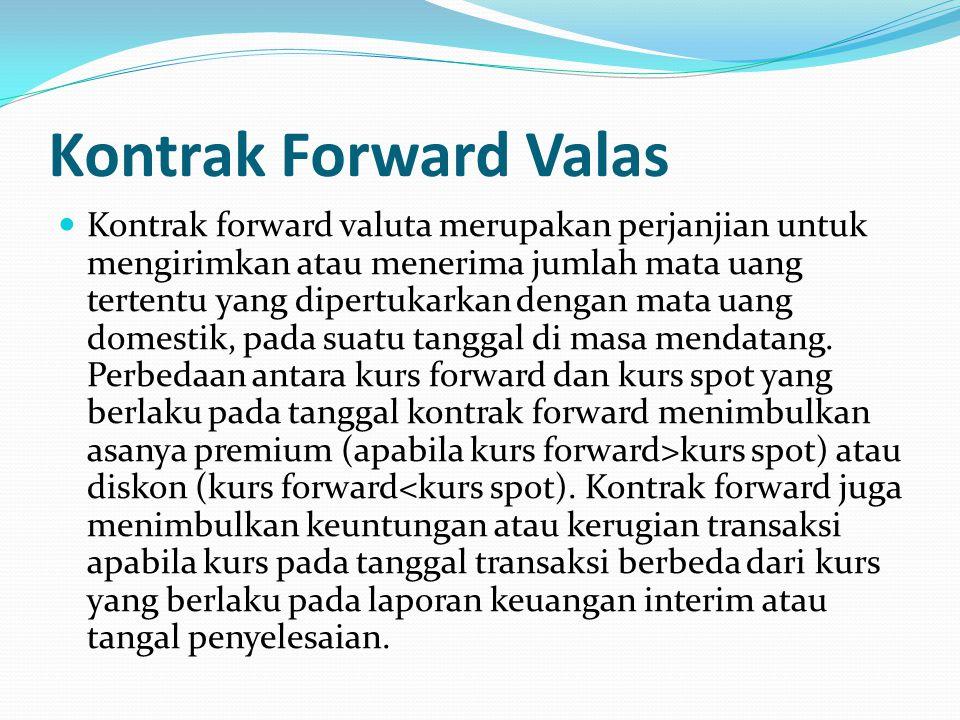 Kontrak Forward Valas Kontrak forward valuta merupakan perjanjian untuk mengirimkan atau menerima jumlah mata uang tertentu yang dipertukarkan dengan mata uang domestik, pada suatu tanggal di masa mendatang.