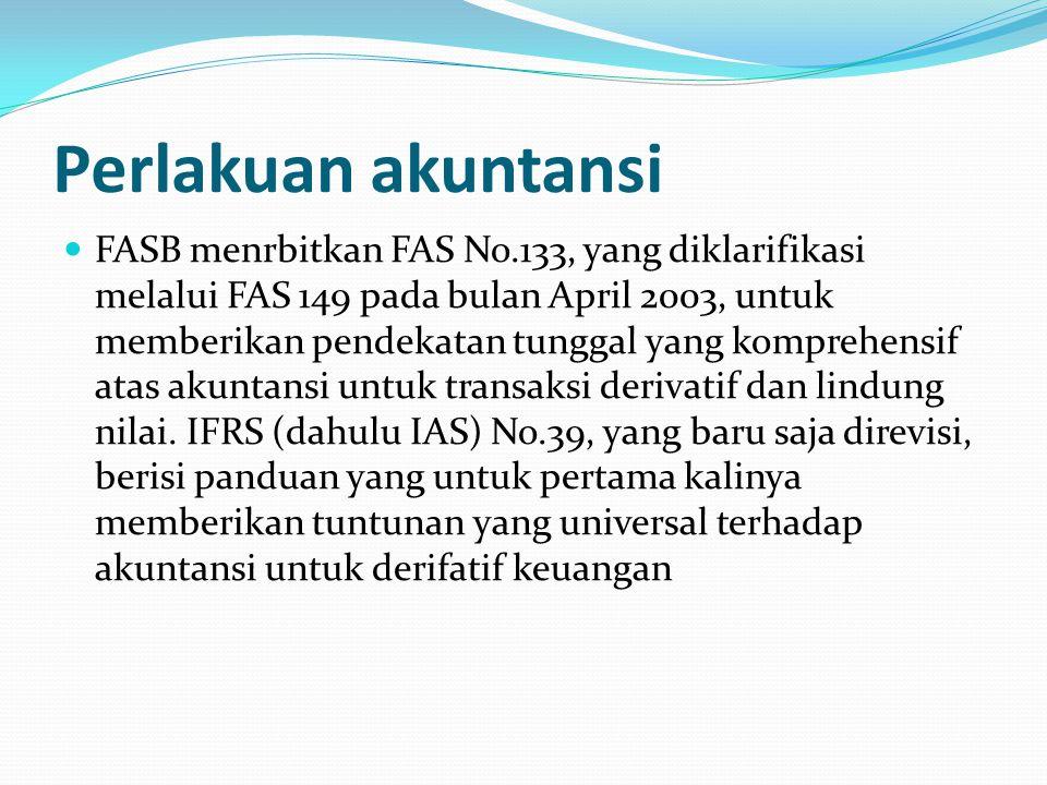 Perlakuan akuntansi FASB menrbitkan FAS No.133, yang diklarifikasi melalui FAS 149 pada bulan April 2003, untuk memberikan pendekatan tunggal yang komprehensif atas akuntansi untuk transaksi derivatif dan lindung nilai.
