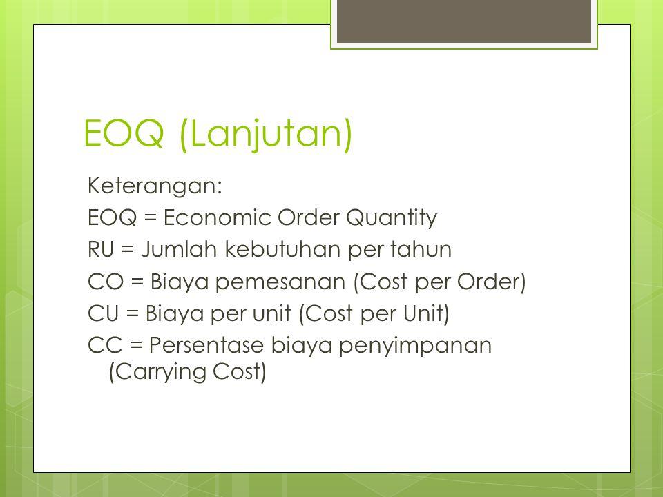 EOQ (Lanjutan) Keterangan: EOQ = Economic Order Quantity RU = Jumlah kebutuhan per tahun CO = Biaya pemesanan (Cost per Order) CU = Biaya per unit (Co