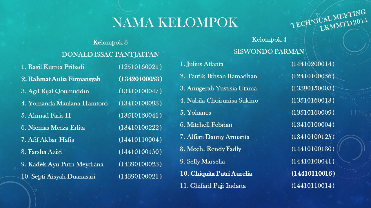 NAMA KELOMPOK Kelompok 3 DONALD ISSAC PANTJAITAN 1.