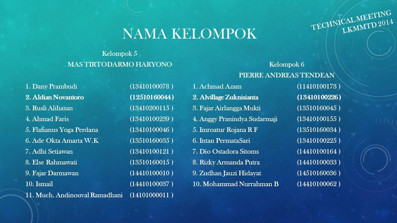 NAMA KELOMPOK Kelompok 5 MAS TIRTODARMO HARYONO 1. Dany Prambudi (13410100078 ) 2. Aldian Novantoro (12510160044 ) 3. Rusli Alihasan (13410200115 ) 4.
