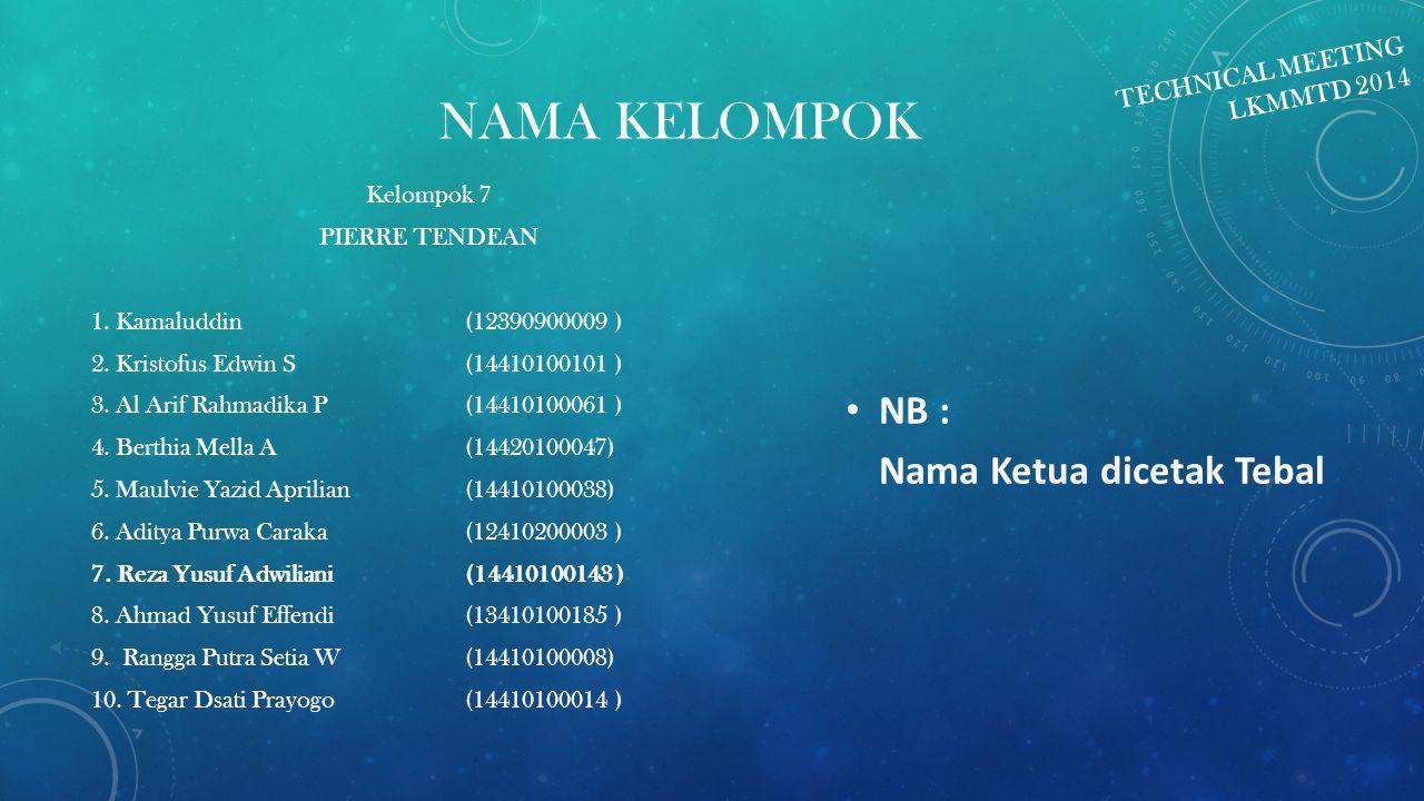 NAMA KELOMPOK Kelompok 7 PIERRE TENDEAN 1.Kamaluddin(12390900009 ) 2.
