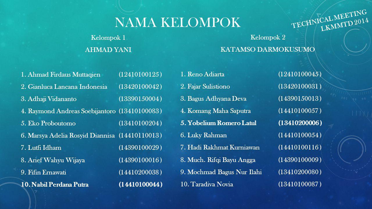 NAMA KELOMPOK Kelompok 1 AHMAD YANI 1. Ahmad Firdaus Muttaqien(12410100125 ) 2. Gianluca Lancana Indonesia(13420100042 ) 3. Adhaji Vidananto(133901500