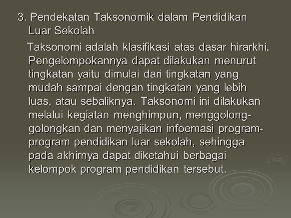 3. Pendekatan Taksonomik dalam Pendidikan Luar Sekolah Taksonomi adalah klasifikasi atas dasar hirarkhi. Pengelompokannya dapat dilakukan menurut ting