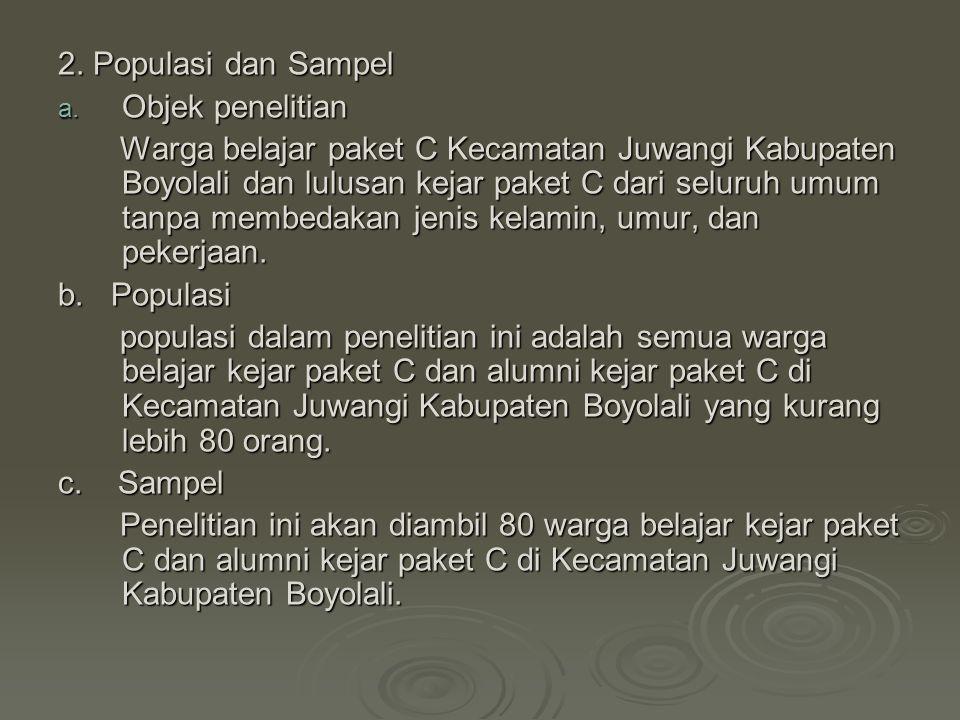 2. Populasi dan Sampel a. Objek penelitian Warga belajar paket C Kecamatan Juwangi Kabupaten Boyolali dan lulusan kejar paket C dari seluruh umum tanp