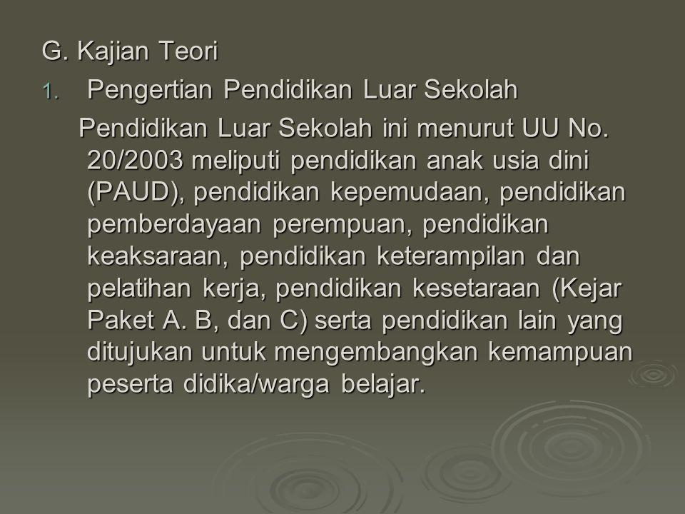 G. Kajian Teori 1. Pengertian Pendidikan Luar Sekolah Pendidikan Luar Sekolah ini menurut UU No. 20/2003 meliputi pendidikan anak usia dini (PAUD), pe
