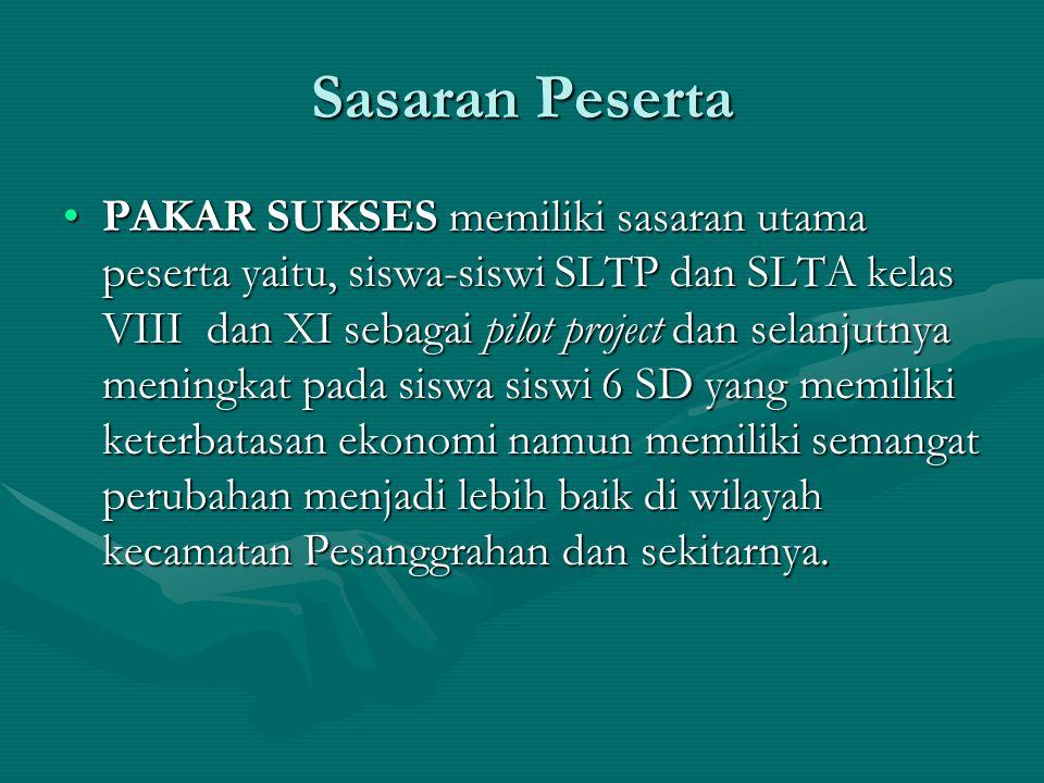 Sasaran Peserta PAKAR SUKSES memiliki sasaran utama peserta yaitu, siswa-siswi SLTP dan SLTA kelas VIII dan XI sebagai pilot project dan selanjutnya m