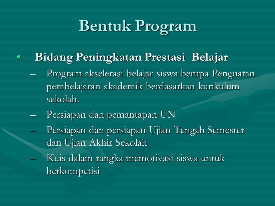 Bentuk Program Bidang Peningkatan Prestasi BelajarBidang Peningkatan Prestasi Belajar –Program akselerasi belajar siswa berupa Penguatan pembelajaran