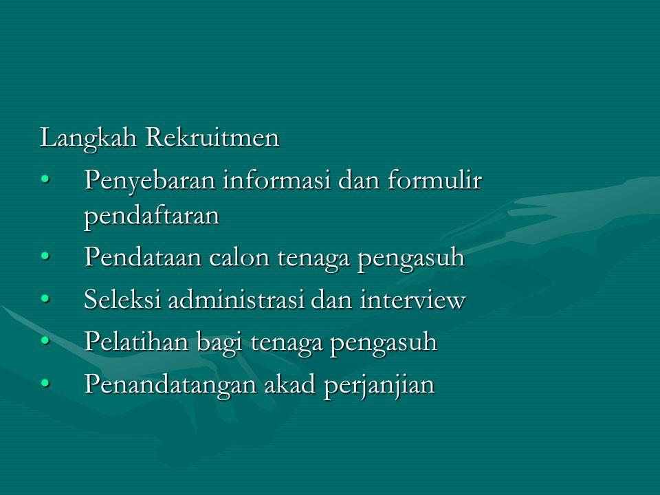 Langkah Rekruitmen Penyebaran informasi dan formulir pendaftaranPenyebaran informasi dan formulir pendaftaran Pendataan calon tenaga pengasuhPendataan