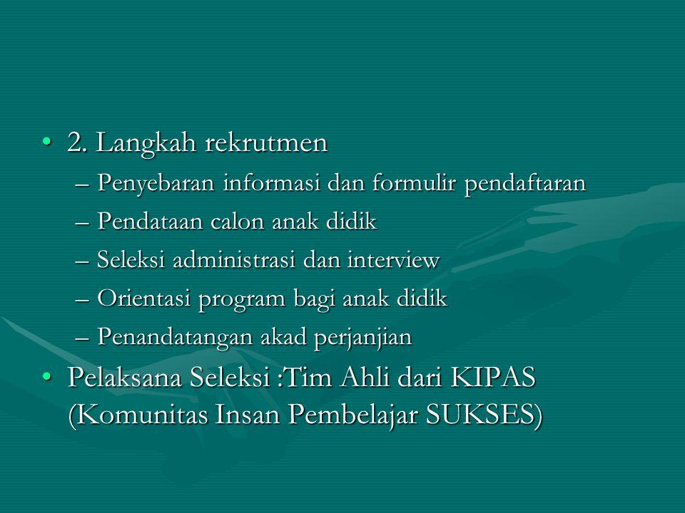 2. Langkah rekrutmen2. Langkah rekrutmen –Penyebaran informasi dan formulir pendaftaran –Pendataan calon anak didik –Seleksi administrasi dan intervie